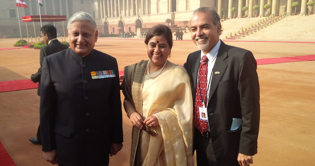 Left to right: HE India's High Commissioner to Canada Nirmal Verma and Mrs. Madhulika Verma with Barj Dhahan at the Presidential Palace in New Delhi